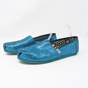 Toms Turquoise Glitter Women's Loafer Flats Sz 10